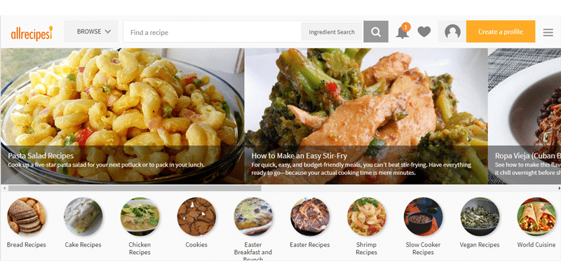 Allrecipes.com preview