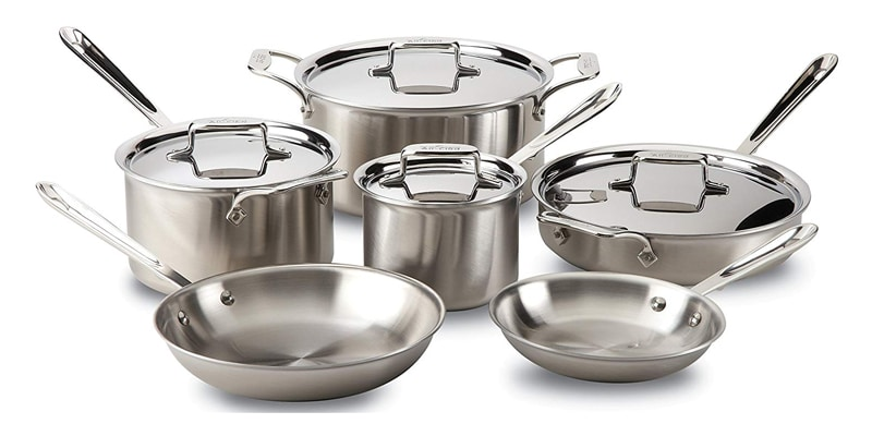 All-Clad BD005710-R D5 Brushed 18/10 Stainless Steel 5-Ply Bonded Cookware Set