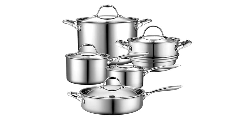 Cooks Standard 10 Piece Stainless Steel Multi-Ply Clad Cookware Set