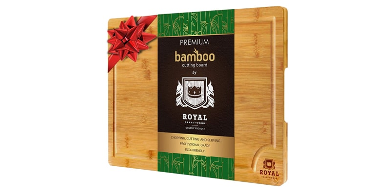 Royal Craft Wood Organic Bamboo Cutting Board with Juice Groove